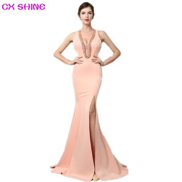 CX SHINE V NECK beading sexy mermaid trumpet long evening dresses robe de soiree long prom party dress Vestidos