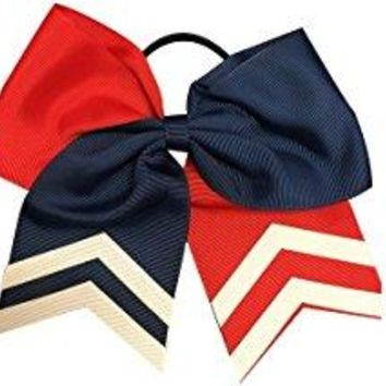Softball Hair Bow- Red & Navy
