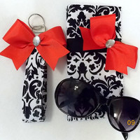 Black and White Damask Sunglasses Case and Wristlet Key Fob Set with Bow(s)