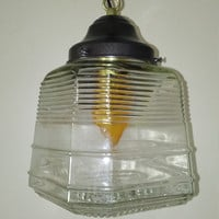 Antique Prismatic and Clear Glass Pendant Light Art Deco 1930s Industrial Unusual