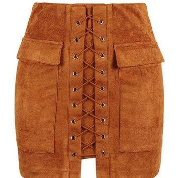 DCCKHQ6 Brown Faux Suede Lace Up Front Pencil Mini Skirt