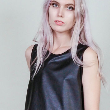 Outlaw -  Vegan leather crop top with lace up back