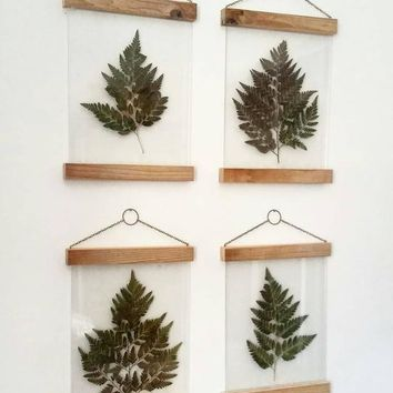 Pressed flowers wall art, botanical print set, plant lovers gift, pressed leaves, modern farmhouse wall decor, plant room decor, fern art
