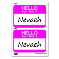 Nevaeh - Heaven Backwards Hello My Name Is - Sheet of 2 Stickers