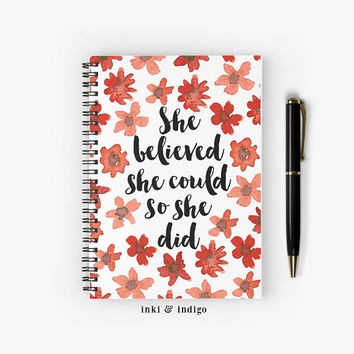She Believed She Could So She Did - Spiral Notebook With Lined Paper, A5 Writing Journal, Diary, Red Floral