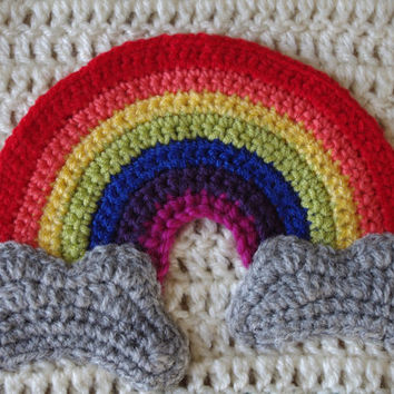 Shop Crochet Rainbow Baby Blanket On Wanelo