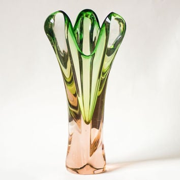 Pastel green and rose shades hand-blown vase, tall glass vase transparent, hand made glass vase home decor, heavy vintage art vase Soviet