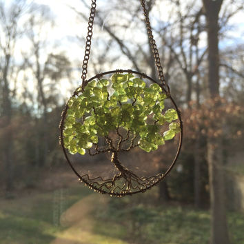 SunCatcher Tree of Life - Peridot Gemstone on Brown Wire Wrapped Tree - Sun Catcher Window Wall Ornament Handmade Gemstones