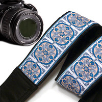 Geometric Camera Strap.  Dslr Camera Strap. Ethnic Camera Strap. White Blue Camera Strap