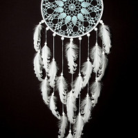 Large Blue White Dream Catcher Wedding Decor Something Blue Crochet Doily Dreamcatcher boho dreamcatchers wall hanging wall decor