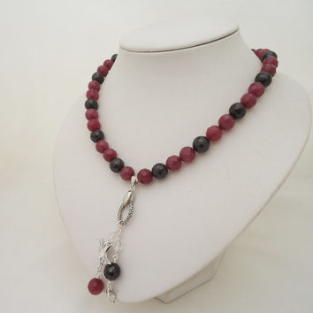 Garnet and African Ruby Necklace, Garnet and Ruby Necklace with Pendant, Statement Ruby and Garnet Necklace