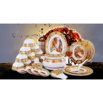 56 Pcs Aesthetic Bone China Dish Tableware Set
