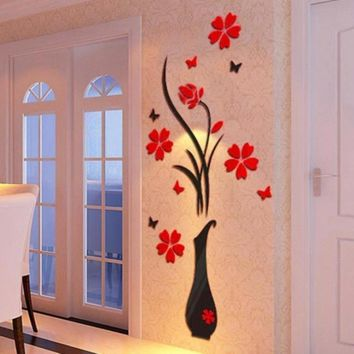 Home Decorate Vase Flower Tree  Acrylic 3D Wall Stickers Flower Vase, Happy Gifts Home Decor