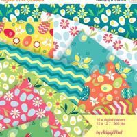 X-mas in July SALE 50%Off Spring Digital Paper, Easter scrapbook collage sheet, Easter eggs, spring flowers, blue, yellow, green, pink, digi