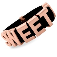 BCBGeneration Bracelet, Rose Gold-Tone Black Sweetheart Affirmation Bracelet