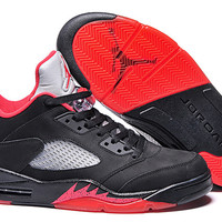 Men's Nike Air Jordan 5 Retro Black Red Grey