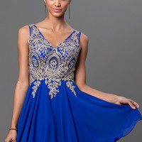Short V-Neck Prom Dress with Embroidered Bodice