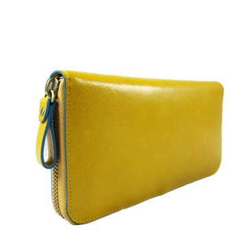 Baimiao Yellow Leather Zip Around Wallet