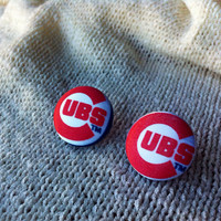 Chicago Baseball Fan Earrings, Fabric Button Earrings Handcrafted with Chicago Cubs Fabric, Stud Earrings