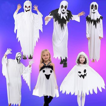 Cool Adult children Halloween cosplay scary Costumes White Ghost costume Tattered  specter Gown Mask girl boy  Fancy Dress robeAT_93_12