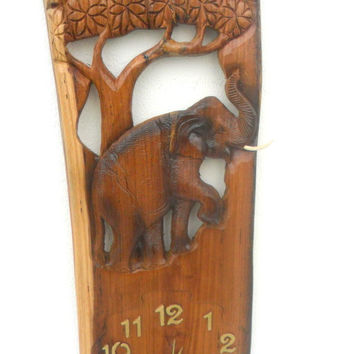 "Natural Teak Wood Carving Elephant With Clock Home Decor Wall Hanging Art  wooden Carved Elephant / Gift 24"" X 10"""