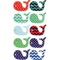 Patterned Whales Stickers