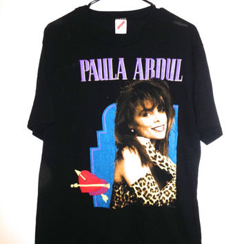 Vintage early 90s Paula Abdul tshirt paper thin pop rock tee rare collectible shirt