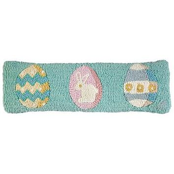 """Easter Eggs Lumbar Hooked Wool Pillow 8""""L X 24""""W"""