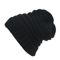 Black Turn Over Knitted Hat - Choies.com