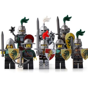 8 PCS/Set Dragon Knights Building Blocks Army Soldier Figures Model War Medieval Bowman Weapons Shields Block Toys LegoINGlys