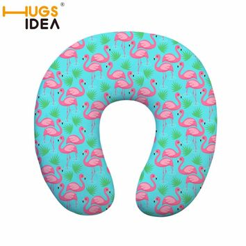 HUGSIDEA Flamingo Soft U Shaped Memory Foam Pillow Travel Neck Pillow for Office Flight Traveling Pillows Head Rest Cushion