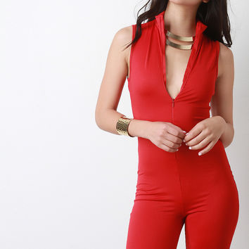 Mock Neck Sleeveless Zip-up Romper