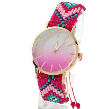 Gnova Platinum Beach Women Watch Bicolor Big Dial Ethnic Fashion wristwatch Chaquira Golden Chain Braided Lace Reloj A841