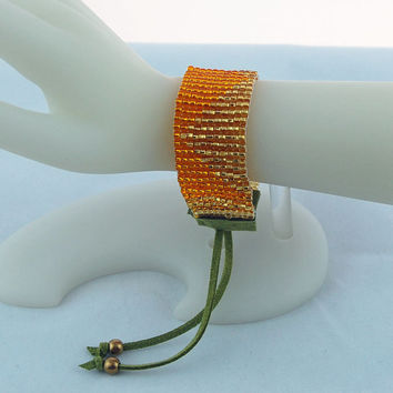 Golden Seed Bead Loomed Bracelet, Stacking Bracelet, Stackable Bracelet, Layered Bracelet, Vegan Leather Jewelry