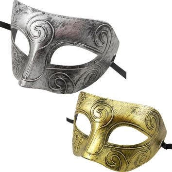 1PC Attractive Design Retro halloween Burnished Antique Silver Gold  for Party Ball Mask for Men