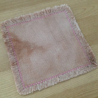 Tea dyed coaster Handmade drink coaster Cross stitch coaster Aida cloth coaster Fabric coaster with furry edge