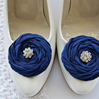 Navy Fabric Roses Shoe Clips