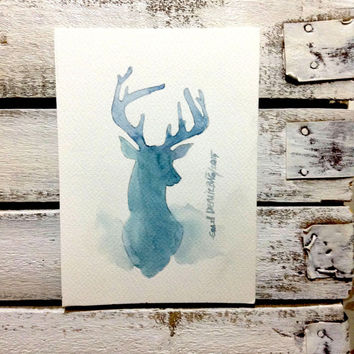CHRISTMAS SALE .... Blue Deer .  Original Abstract Painting Deer - original contemporary fine art - drawing on paper - abstract