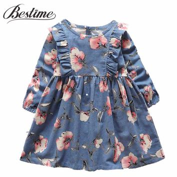 2-6y Autumn Girls Clothing 2017 Fall Girl Dress Ruffles Floral Children Dress Cotton Long Sleeve Kids Dresses Cute Girl Clothes