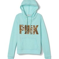 Amazon.com: Victorias Secret Pink Pullover Funnel Neck Hoodie Small Aqua Tiger