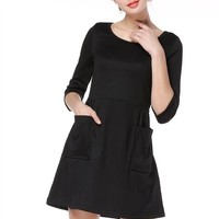 TopStyliShop Women's 2/3 Sleeve Round Neck Dress