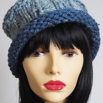 blue fedora / light blue knit hat / roll brim knit hat / roll brim crochet hat / blue knit winter hat / porkpie hat / OOAK