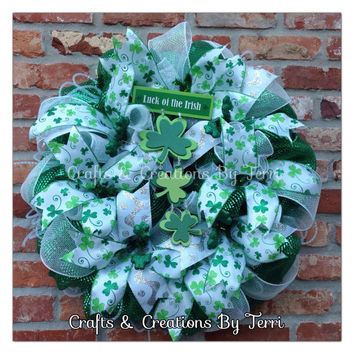 Luck Of The Irish - St. Patrick's Day Wreath - St. Patty's Day Wreath - Clover Wreath - Deco Mesh Wreath - Door Decor - Ready To Ship