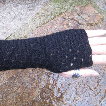 Black Mittens fingerless gloves long lace crochet warmers handknitted wool alpaca steampunk victorian gothic