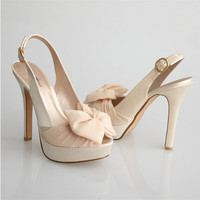 Allure Bridals-Nude Slingback Peep Toe Chiffon Sash Heels - Unique Vintage - Cocktail, Pinup, Holiday & Prom Dresses.