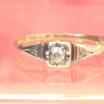 Diamond Vintage 14K Engagement Ring.Promise