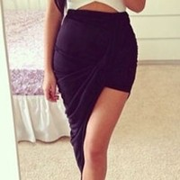 Black Ruched Twisted Asymmetric High Low Hem Mini Maxi Skirt
