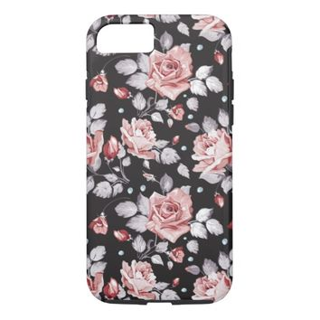 Vintage Pink Floral Pattern Tough iPhone 7 Case