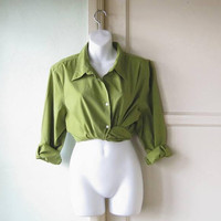 Fern Green Vintage Cotton Blend Shirt; Women's XL Long Sleeve Classic Button-Up Casual/Work/Social Top; U.S. Shipping Included