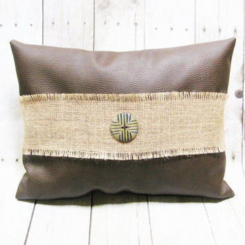 Decorative Accent Pillow - Brown Vegan Leather Pillow - Burlap Trim With Decorative Button - Lumbar Pillow